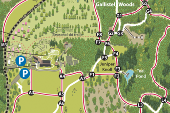 Detail of the Arboretum trail map.
