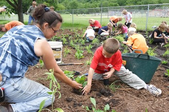 Planting a rain garden at Park Elementary School in Cross Plains, WI. Photo: Bill Arthur