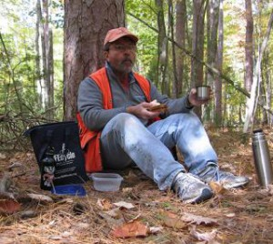Dennis Riege on lunch break during research at Finnerud Forest