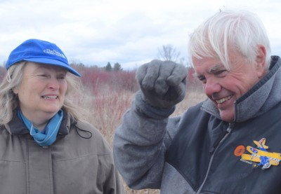 Joy Zedler and Cal DeWitt discuss the past, present and future at Waubesa Wetland, south of Madison. Photo: David Tenenbaum