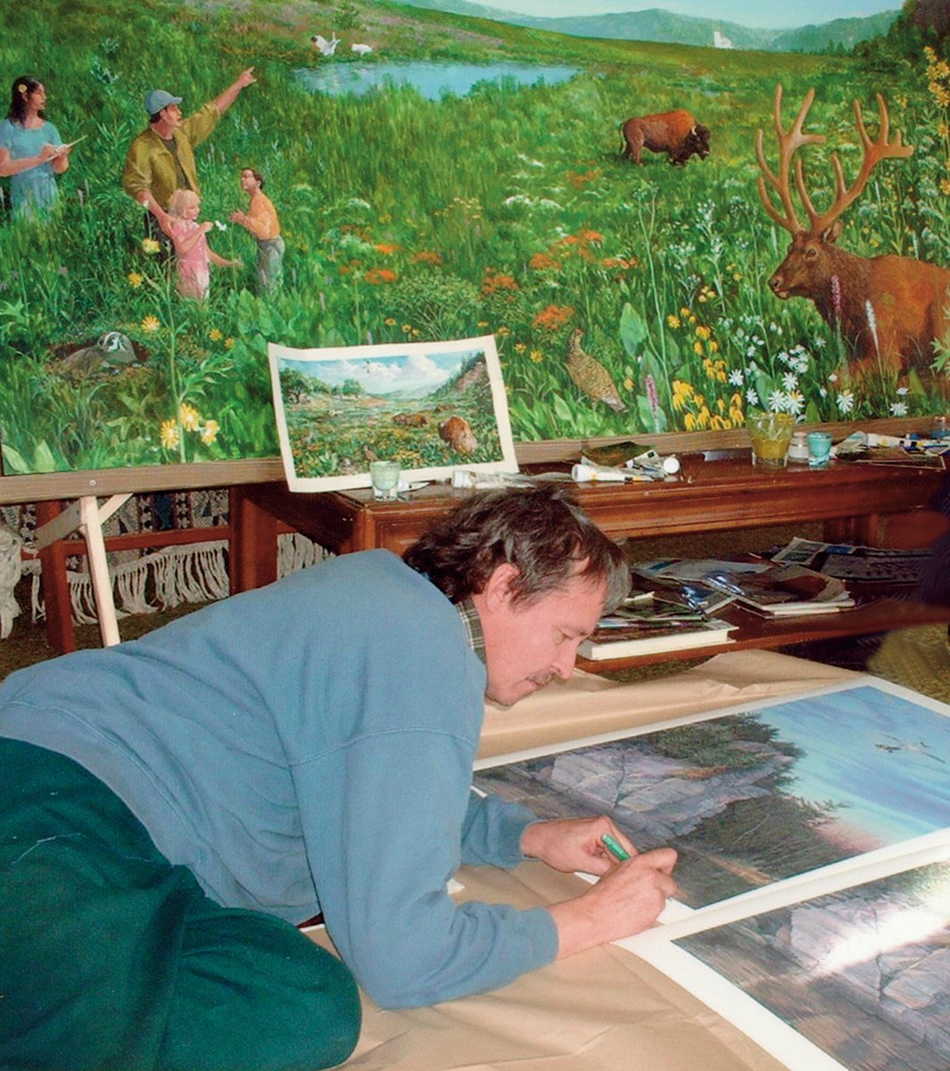 Victor Bakhtin working in studio on the Arboretum mural project.