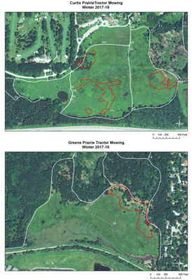 Maps that show areas mowed in Curtis and Greene prairies.