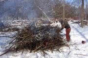 Burning brush piles at Skunk Cabbage Wetlands