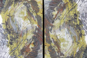 Art quilt of tree ring patterns