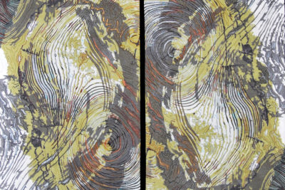 Art quilt of tree ring patterns