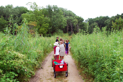 Summer campers walking down a trail