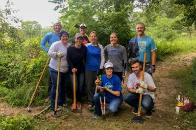 A work party of Badger Volunteers in Curtis Prairie