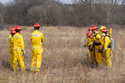 UW students in fire protective suits standing in prairie for a spot fire exercise