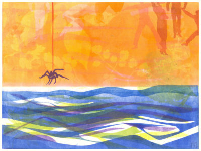 colorful print of a spider dangling from its silk over water