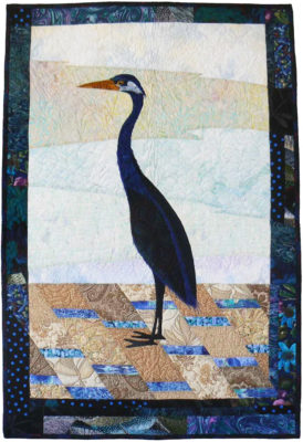 Quilt titled Rock Lake's Blue Heron by Wendy Butler Berns