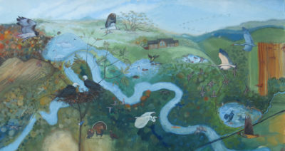 Birds on the Buffalo River, a painting by Lorraine Ortner-Blake