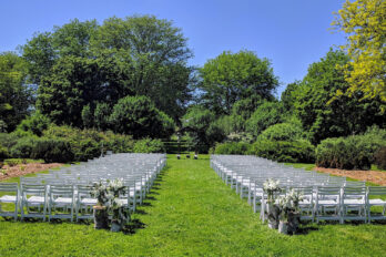 Ceremony chairs in Longenecker Horticultural Gardens