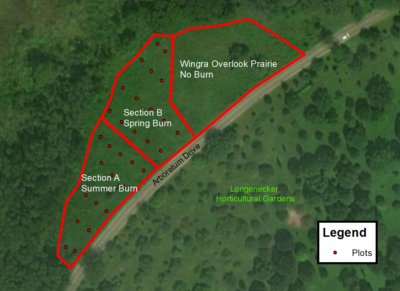 Map of Wingra Overlook Prairie prescribed fire research