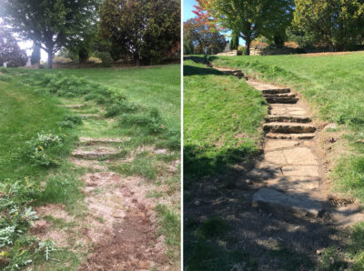 Stone steps near Nakoma Road, before and after clean up