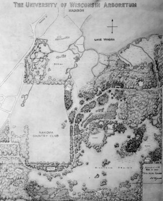 A map of the early Arboretum by G. William Longenecker, March 6, 1935.