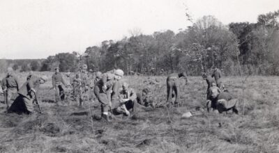 Civilian Conservation Corps workers planting a prairie at the Arboretum, Nov. 2, 1936.
