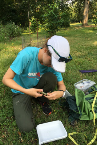 Erin Crone conducts a snake survey