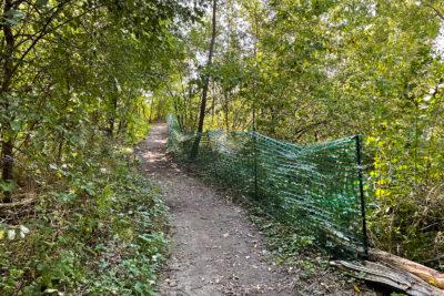 Green plastic fencing alongside a trail