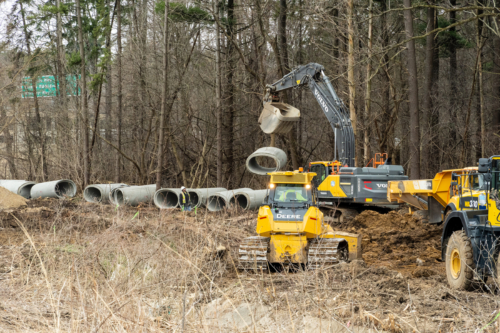 Pipe segments at work site